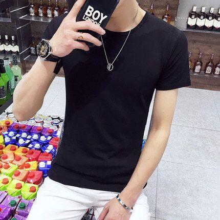 夏季男士T恤男短袖新款修身体恤青少年半袖衣服男装打底衫潮流ins