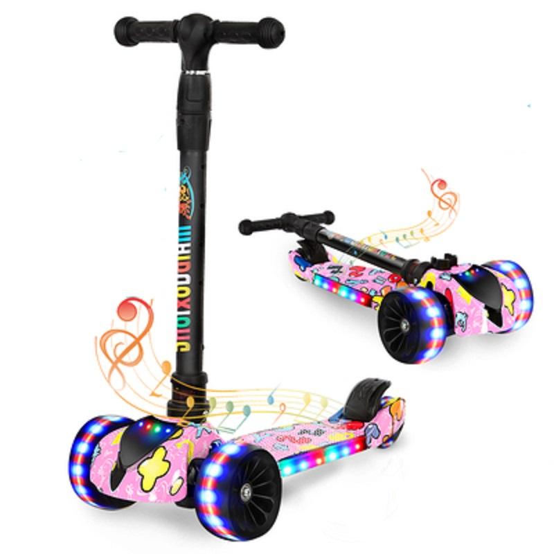瑞士儿童滑板车男女宝宝折叠溜溜车自行车音乐闪光可坐可骑三轮车