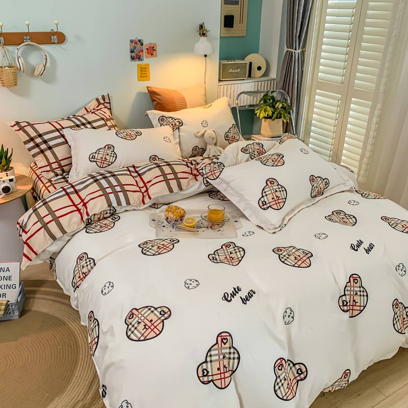春夏季纯棉四件套全棉被套床单人床上用品学生宿舍被子被单三件套