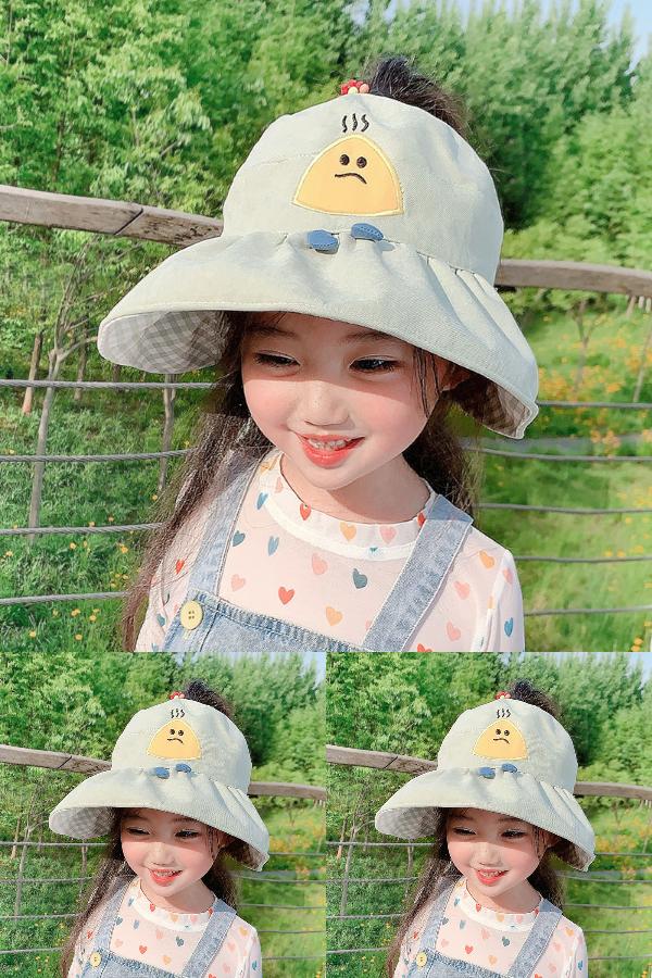 儿童防晒帽子夏天宝宝遮阳帽女童防晒渔夫帽防紫外线空顶帽可爱女