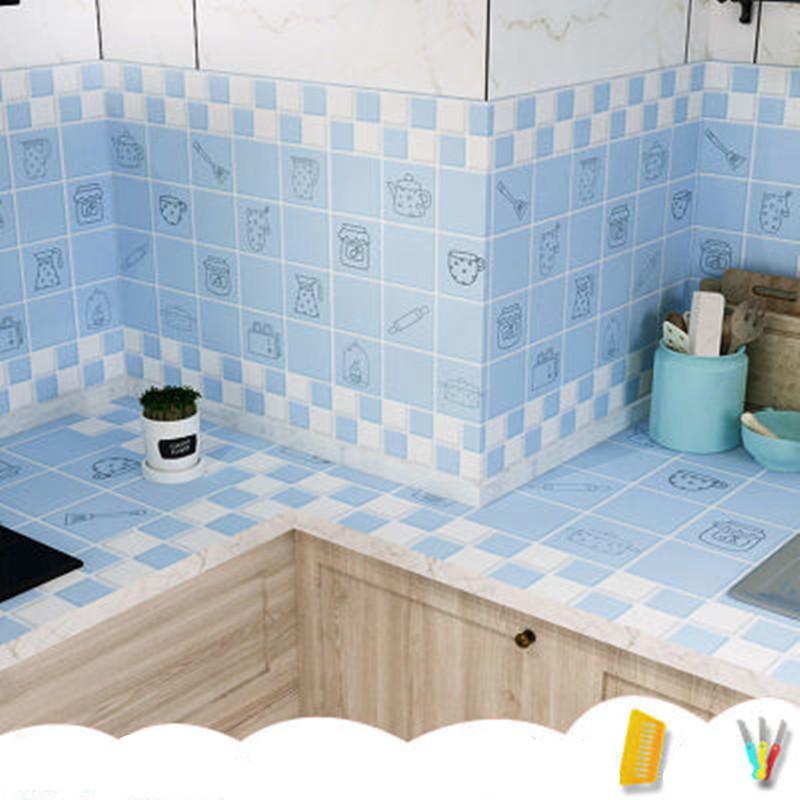 厨房防油贴纸防水自粘耐高温灶台墙纸橱柜台面用油烟机墙贴壁纸
