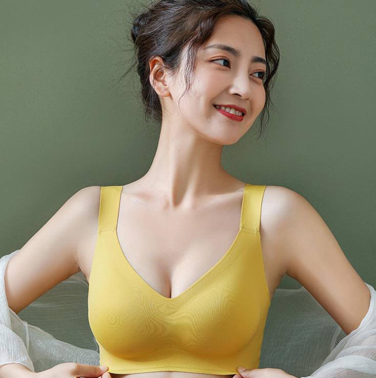 泰国乳胶内衣女小胸聚拢无钢圈背心式美背文胸罩舒适无痕内衣薄款