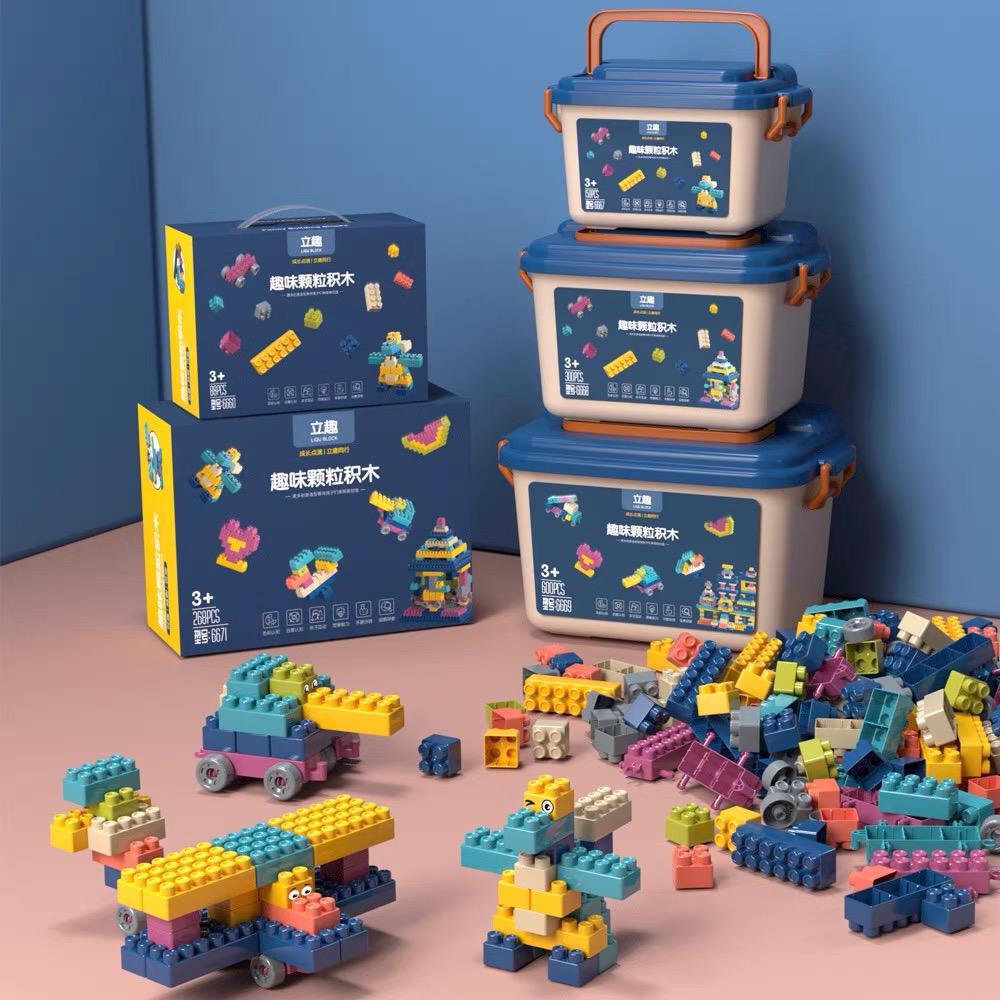 拼装雪花积木儿童桶装手提礼盒趣味拼装